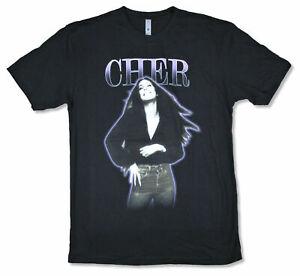 Cher-Purple-Outline-Vintage-Pic-Black-T-Shirt-New-Official-Merch