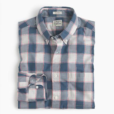 Classic Fit J Crew Mens S Pink Check Plaid Heathered Poplin Cotton Shirt