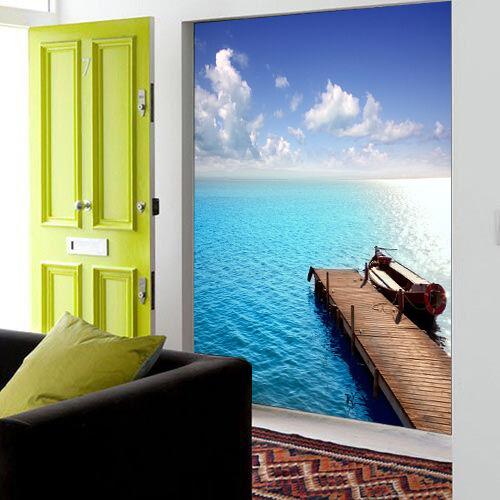 3D See Holzsteg 079 Fototapeten Wandbild Fototapete Bild Tapete Familie Kinder