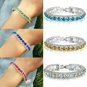 Lady-Silver-Crystal-Rhinestone-Bangle-Bracelet-Wedding-Diamond-Birthday-Jewelry