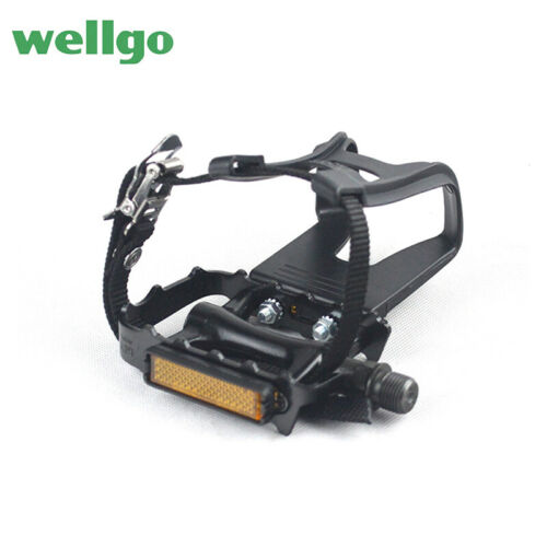 WELLGO Bike Bicycle MTB Pedals Sealed Bearing With Clips Straps Toe Clips Cages