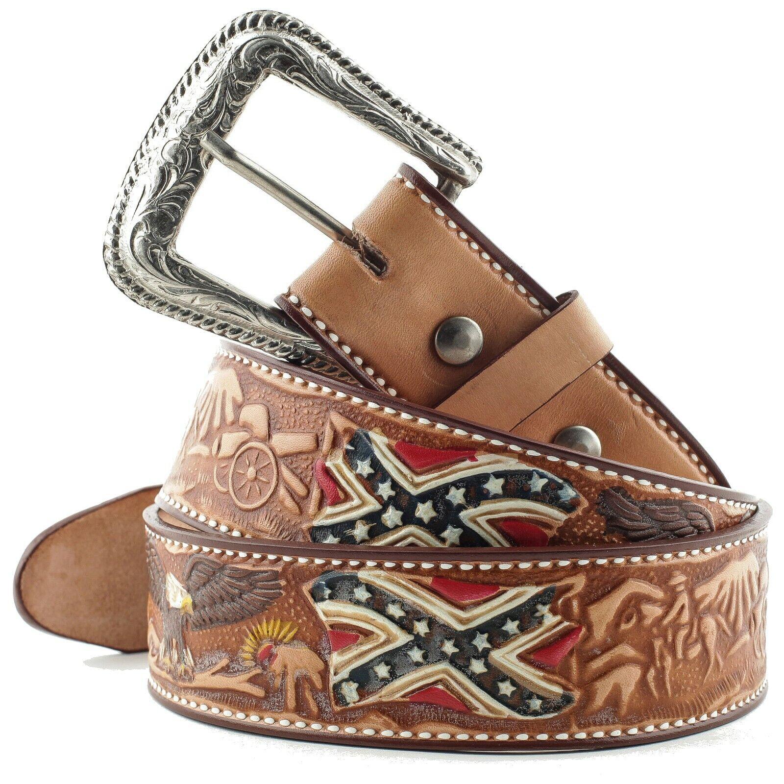 Gürtel Ledergürtel Westerngürtel Cowboygürtel Country Leder Unisex »WG-12« Braun