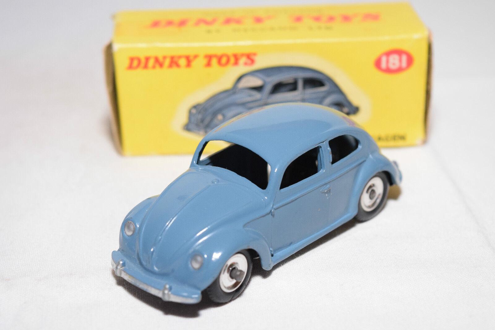 P DINKY TOYS 181 VW VOLKSWAGEN BEETLE KAFER bleu SPUN N MINT BOXED RARE SELTEN