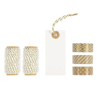 Verpackungsset 15 tlg. Weiß Braun / Etiketten, Band, Dekoration, Tape, Geschenk