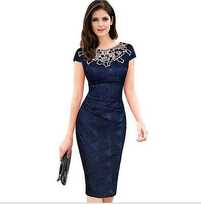 Embroidery Elegant Hollow out Ruched Pencil Bodycon Evening Party Dress Womens