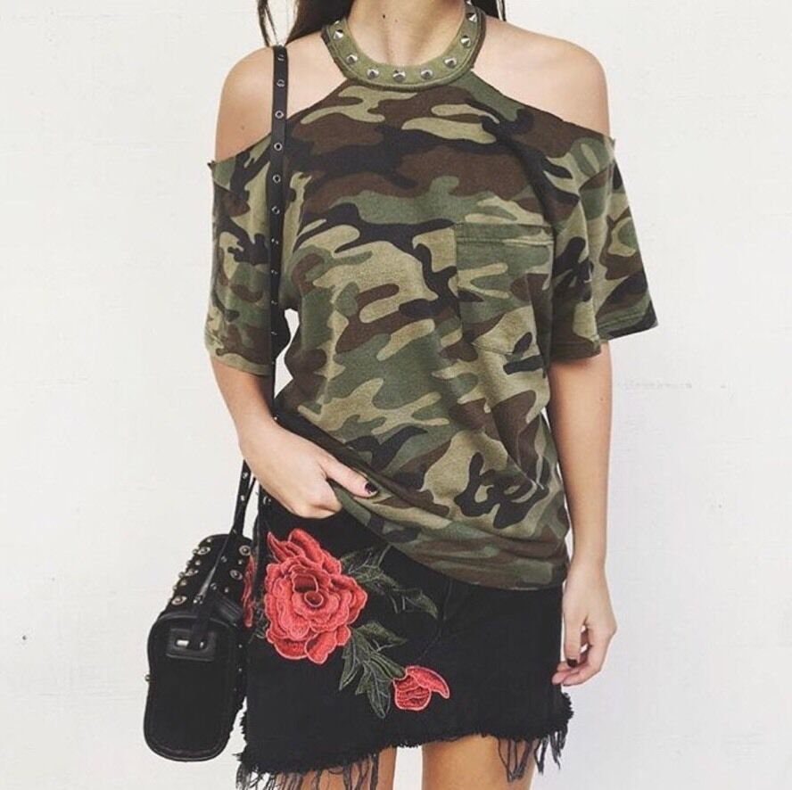 LF vintage furst of kind camo cut-out  shoulder top with studded choker NWT OS