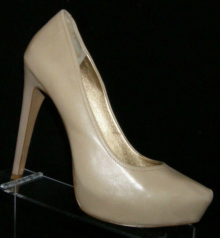 Jessica Simpson 'Francesca' tan leather pointed to slip on platform heels 9.5B