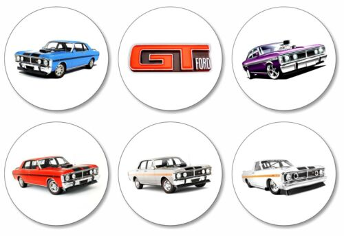 6 x Ford GT 351 32mm BUTTON PIN BADGES Classic Sports Car Logo Falcon V8 Ford
