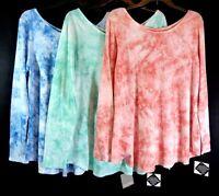 Womens Falls Creek Pink Blue Green Tie Dye Long Sleeve T-shirt Knit Top Sz L