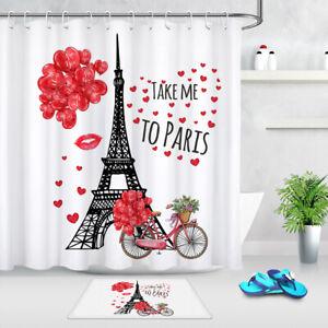 Valentines Romantic Trip To Paris Eiffel Tower Shower Curtain Set Bathroom Decor Ebay