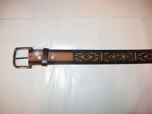 "1.5/"" Wide Men/'s Indian Symbol Leather Belt Casual Dress Belt Quality Leather"