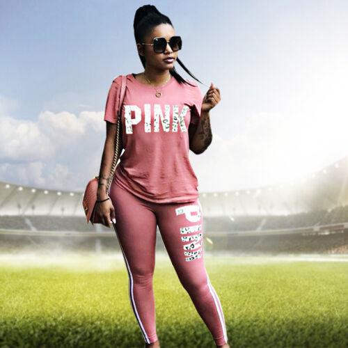 2Pcs Women Letter Printing Tracksuit Set Casual Jogging Sport Sweat Suits Set