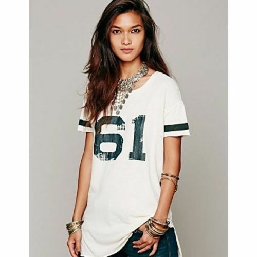 Free People Weiß Little League Graphic Jersey Top Tee Shirt Rare