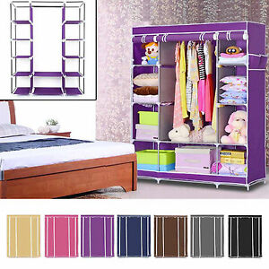 LARGE-FABRIC-CANVAS-WARDROBE-WITH-HANGING-RAIL-SHELVING-CLOTHES-STORAGE-CUPBOARD