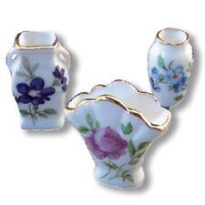 Dollhouse Miniature Furniture 3 Piece Floral Vase Set