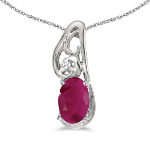 """10k White Gold Oval Ruby And Diamond Pendant with 18/"""" Chain"""