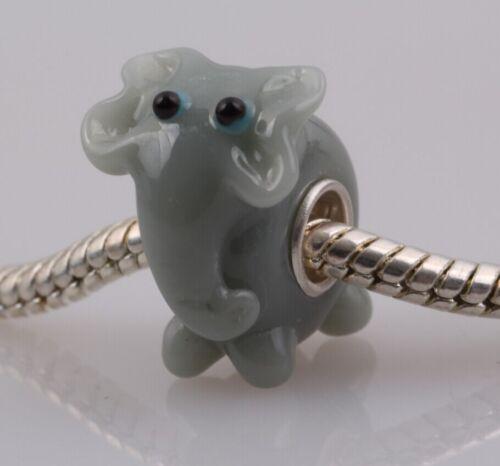 1pcs SILVER MURANO GLASS BEAD LAMPWORK Animal European Charm Bracelet DW36A