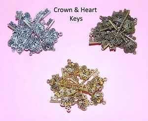 Crown-amp-Heart-Keys-Choice-of-Colour-amp-Qty-Vintage-Charm-Steampunk-Findings