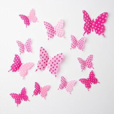 12pcs 3d Pink Red  Butterfly DecorationArt Decal PVC Wall Sticker Fridge Sticker