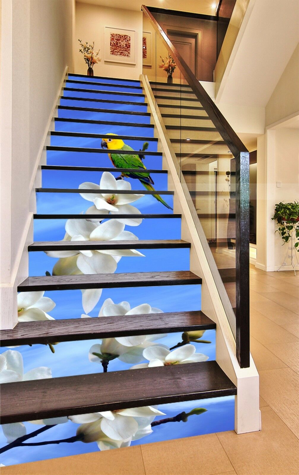 3D Parrot Flower 854 Risers Decoration Photo Mural Vinyl Decal Wallpaper CA