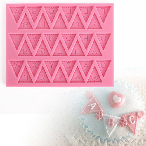 HOT 1pc Hot Letter Flag Lace Silicone Mold Cake Decorating Baking Chocolate M