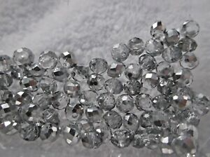 100-GLASS-Faceted-RONDELLE-BEADS-6mm-With-1mm-Hole-Clear-amp-Silver-Shimmer