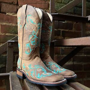 CORRAL CIRCLE G WOMEN'S TAN TURQ DRAGONFLY EMBROIDERY SQ TOE WESTERN BOOTS L5229