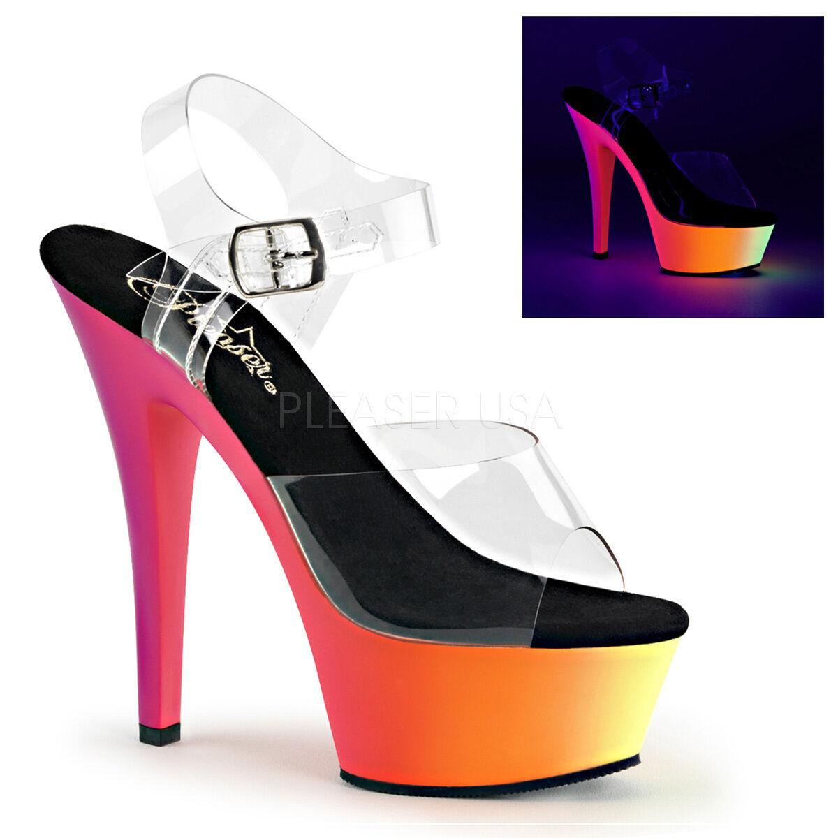 PLEASER Sexy Stripper Stripper Stripper Dancer UV Neon Rainbow Platform 6  High Heels schuhe 4e8991
