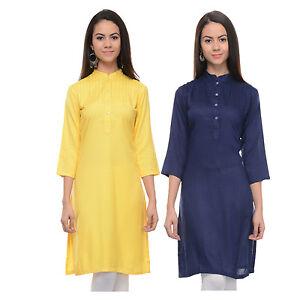 Vipakshi Women's Solid Yellow & Blue Rayon Combo Kurti (Pack of 2) (CM-10 E)