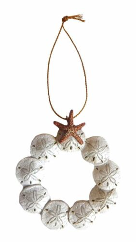 RESIN SAND DOLLAR WREATH wSTARFISH COASTAL NAUTICAL CHRISTMAS ORNAMENT