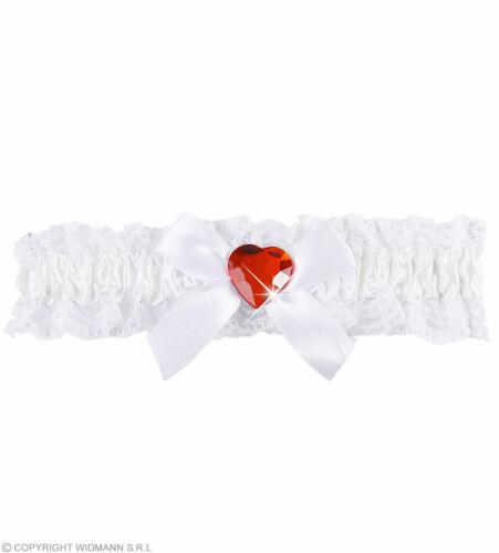 Weißes Strumpfband Mit Schleife Und Rotem Herzjuwel