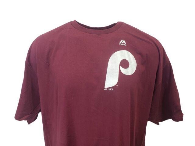 Philadelphia Phillies MLB Majestic Cooperstown Maroon T-Shirt  Men's, nwot