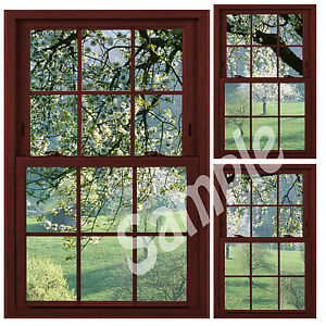 Details About Faux Fake Window Illusion Cherrywood Frame Cherry Blossom Trees 3 Views