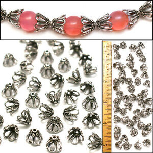 10mm-Bali-Style-925-Sterling-Silver-PL-Wire-Loop-FLOWER-Filigree-Bead-Caps-50pc
