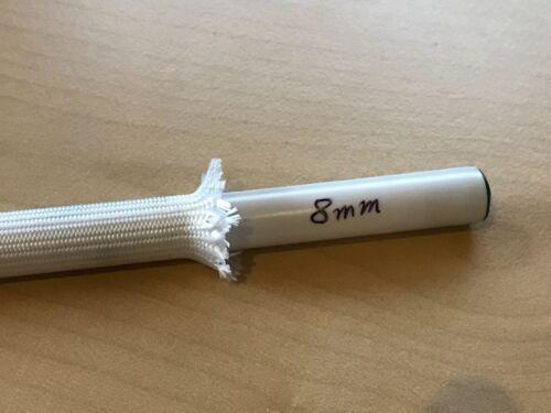 1m Gewebeschlauch Glasfaser Glasseide Schlauch Kabel Hitzeschutz  8,0mm Weiß