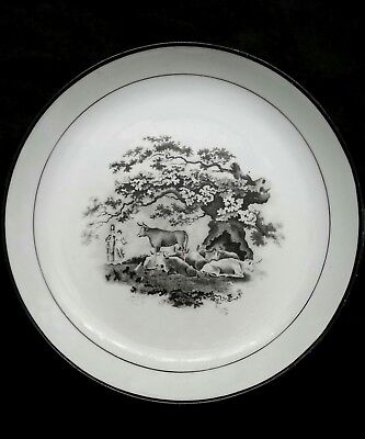 """Industrious Antique European Black Transferware Porcelain Dish """"resting Cows"""" 8 Inches Modern And Elegant In Fashion Antiques"""