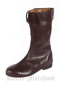 Das Bild wird geladen Lange-Schnuerstiefel-dunkelbraun-Mittelalter-Stiefel -LARP-Schuhwerk-Schuhe 73479948f0