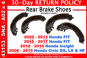 2013 For Honda Civic Rear Drum Brake Shoes Set with 2 Years Manufacturer Warranty Both Left and Right