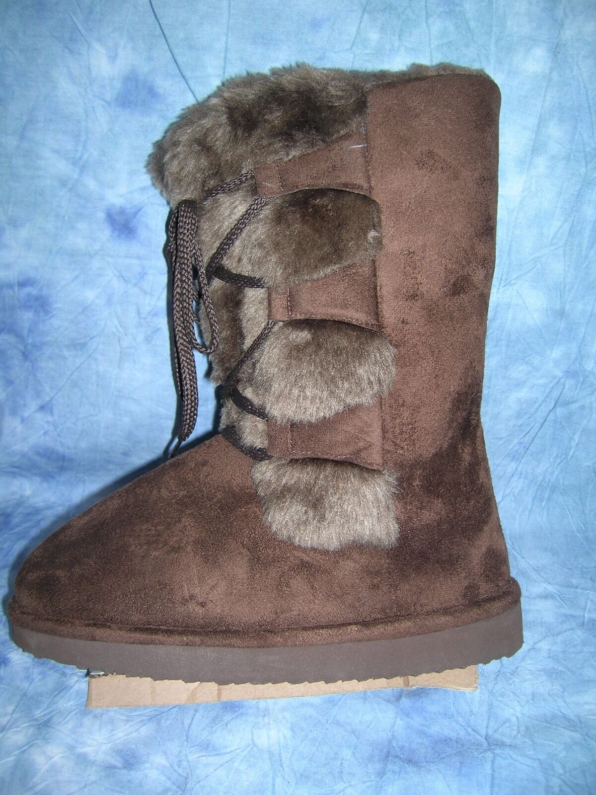WILD DIVA BROWN SUPER SUEDE WINTER BOOTS w/ FUR  SIZE 6