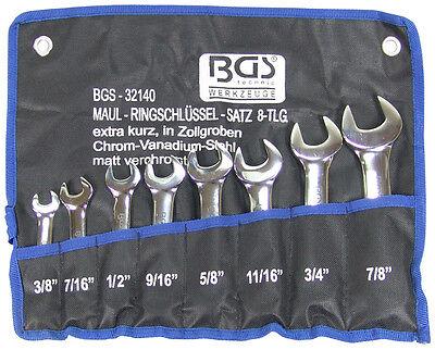 Maul-Ringschlüssel Satz 8-tlg. kurz 3/8-7/8 Zoll Werkzeug Maulschlüssel Set BGS