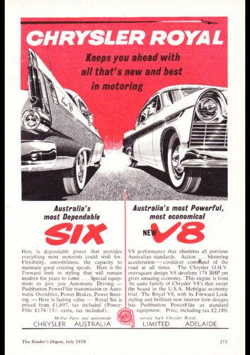 "1958 AP1 CHRYSLER ROYAL 6 /& V8 AD A2 CANVAS PRINT POSTER 23.4""x16.5"""