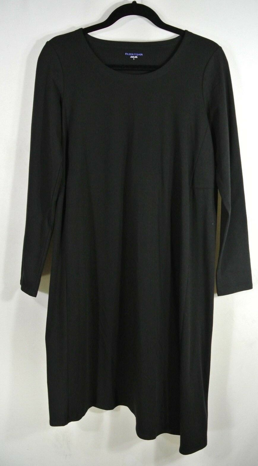 NEW EILEEN FISHER Organic Cotton Jersey Asymmetrical Dress in schwarz - Größe S