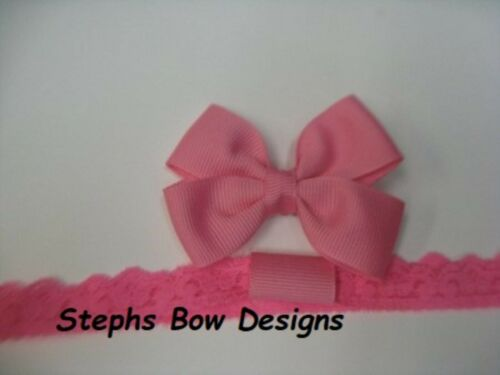 Hot Pink Dainty Hair Bow Lace Headband FITS Preemie Newborn Baby Toddler Easter