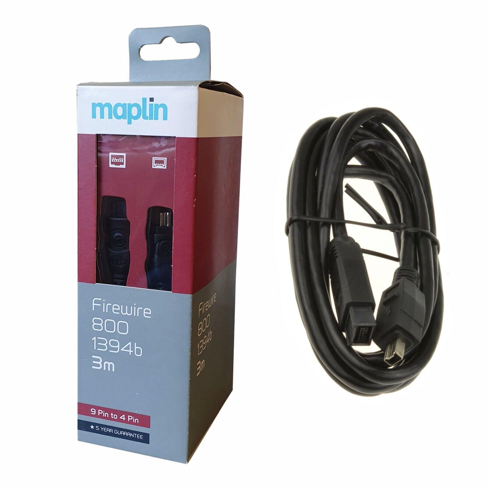 Certified Maplin Firewire 800 1394b 9 Pin To 4 Pin 3 Meters