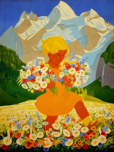 PAINTING PORTRAIT GIRL FLOWER MOUNTAIN MEADOW FOREST WATERFALL POSTER LV2719