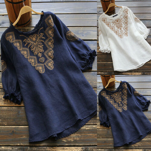 ZANZEA Damenmode O Neck Kurzarm Floral Sommer Vintage Bluse Tops Hemd Shirts Tee