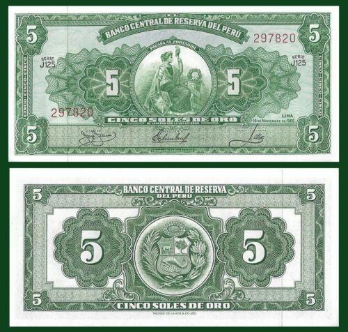 5 Soles seated Liberty allegorical // arms 1966 Perfect De La Rue Peru P83a
