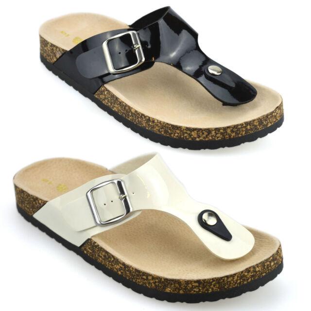 Ladies Womens Leather Flat Toe Post Flip Flops Summer Mules Sandals Shoes size