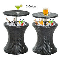 Outsunny Wicker Rattan Ice Bucket /table Cooler Drink Party Activity Outdoor