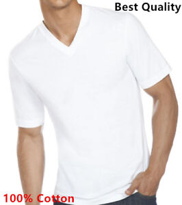 New-3-6-Pack-Men-039-s-100-Cotton-Tagless-V-Neck-T-Shirt-Undershirt-Tee-White-S-XL
